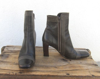 Ankle Booties Square Toe Mod Italian Brown Leather Heels By Charles David Ladies Size 39