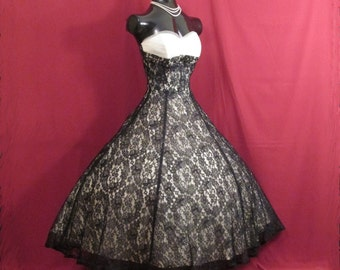 Vintage 1950's 50s STRAPLESS Black Lace White Tulle Party Prom Wedding Dress