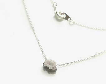 Hedgehog Necklace - small cute slider charm pendant in black / gunmetal finish - little tiny link silver plated chain - pet animal porcupine