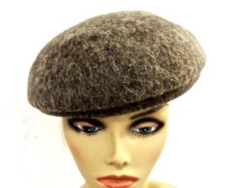 vintage wool beret - 1960s Kaybrooke grey wool hat