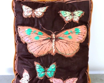 vintage butterfly pillow - 1960s-70s quilted butterfly throw pillow