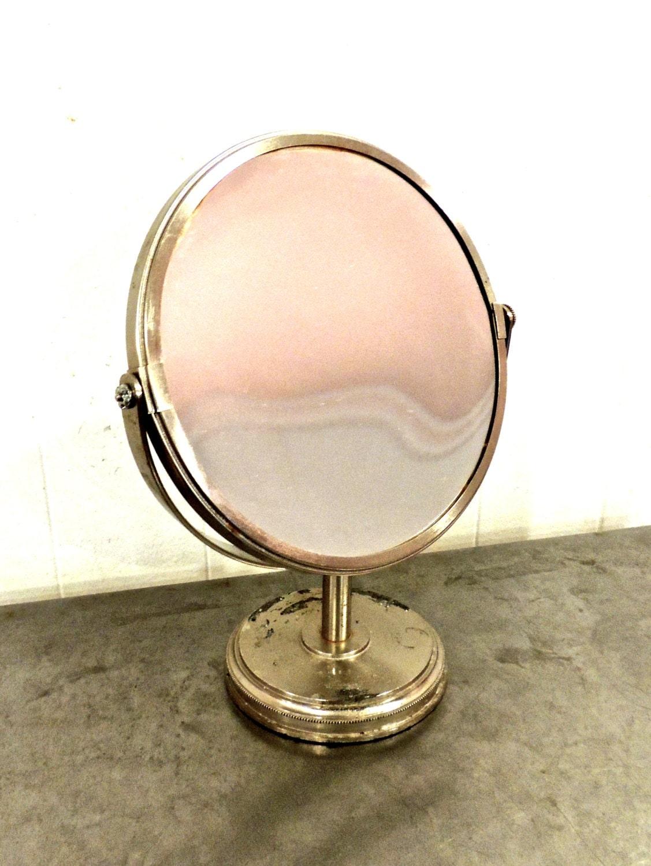 vintage vanity mirror 1960s 70s silver rotating makeup. Black Bedroom Furniture Sets. Home Design Ideas