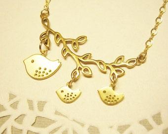 Bird Branch Necklace, Mom Jewelry, 2 Baby Birds, Gold