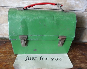 Vintage Great Metal Green Lunch Box or Lunch Pail