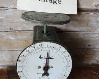 Vintage Green Metal Scale Chippy Shabby Chic