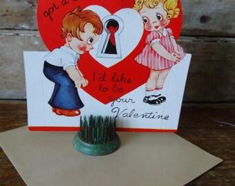Vintage Valentine Little Girl Sweet 1950's  or Earlier Retro