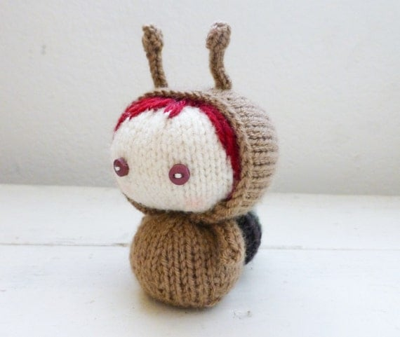 How To Knit Amigurumi For Beginners : Items similar to Amigurumi snail doll, knit snail ...