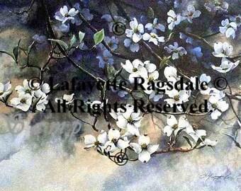 April's Shower Dogwood Blooms Watercolor Print Lafayette Ragsdale