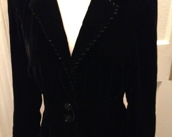 70's Black  Velvet  Fitted Jacket With Carnival Bead Buttons, Lapel and Cuff Embellishments Small