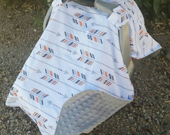 Baby Car Seat Cover - Baby Car Seat Canopy - White and Grey Canopy - Arrow & Baby Car Seat Canopy Baby Car Seat Cover Pink Car Canopy