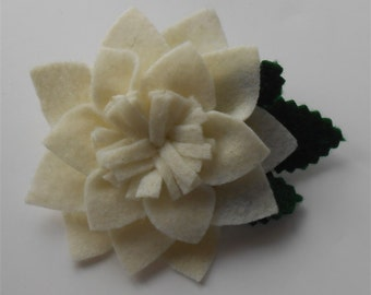 Ivory Brooch Felt Flowers Pin Jewelry Felted Flower Pins Brooches White Flower Pin Handmade Accessories Felt Floral Gifts