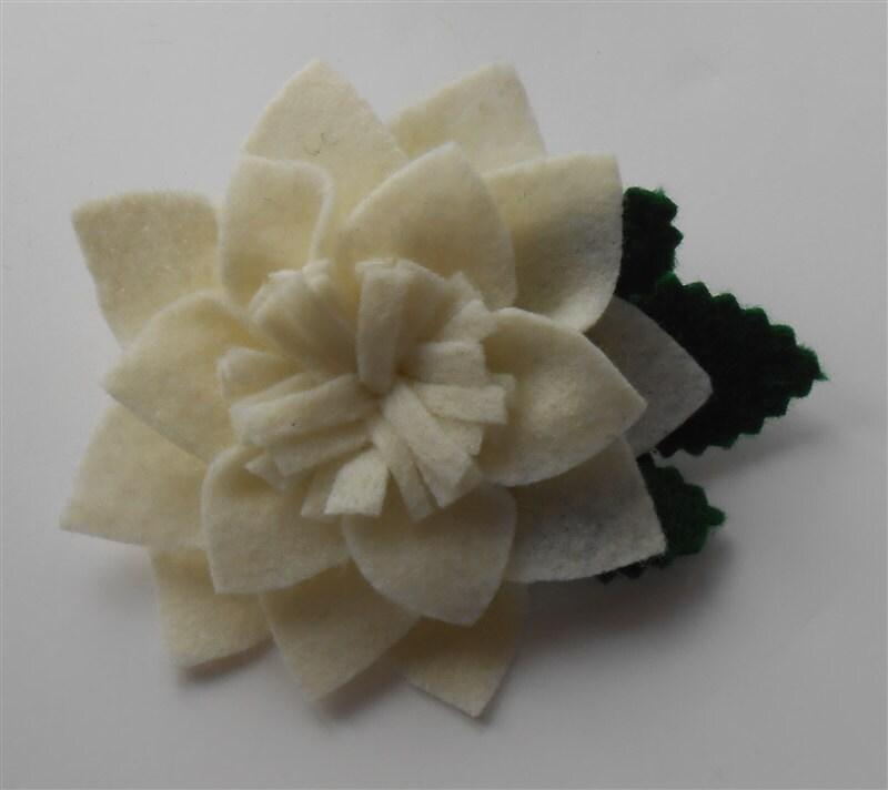 Ivory Brooch Felt Flower Pin Jewelry Felted Flowers Pins