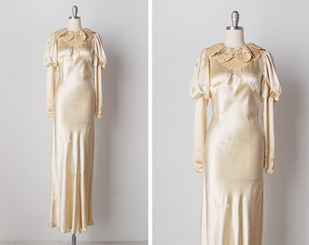 vintage 1930s dress / 30s wedding dress / 1930s bridal gown / One True Love dress