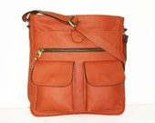 Orange Leather MESSENGER Bag // Leather Cross-body Purse // Handbag Iris