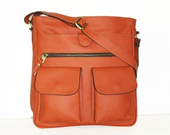 Orange Leather MESSENGER Bag Leather Purse, Leather Crossbody Bag, Leather Messenger Bag Leather, ipad messenger bag, laptop messenger, Iris