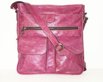 DISTRESSED Leather Messenger Bag Iris // Leather Cross-body Bag fits a 11 laptop