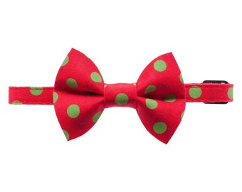 """Cat Collar + Matching Removable Bow Tie - """"The Edgy Elf"""" -  Red with Green Christmas Dot"""
