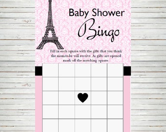 Paris Baby Shower ~ Instant Download Bingo Game Cards, Eiffel Tower France Parisian Theme, Baby Shower DIY Printable Party Sheet BD60