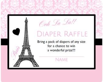 "Paris Baby Shower ~ Instant Download Diaper Raffle Game Cards 3 1/3x 4"" Parisian Theme Printable Party Eiffel Tower Diaper Raffle Game BD60"