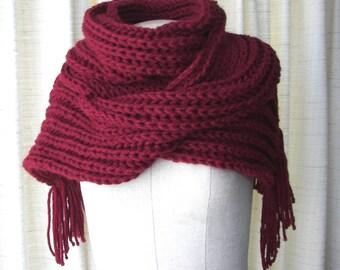 Hand Knit Rib Textured Long SOFT WARM Scarf in Mulberry RED / Dark Red knit scarf / Boyfriend Scarf