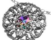 Crystal Rivoli Pendant and Chain- Fantasy Medieval Renaissance Pixie Fae Fairy Wedding
