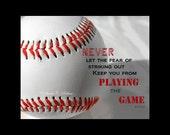 SALE Babe Ruth Quote-Baseball Print-Fine Art Print-Typography Art-Boys Room Wall Decor-Inspirational Art-Sports Wall Decor-Baseball Quote
