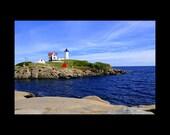 Coastal Maine Art-Nubble Light-Lighthouse Photograph-Nautical Wall Art-Vivid Blue-Fine Art Print-Large Sofa Art-Home Decor-Cape Neddick