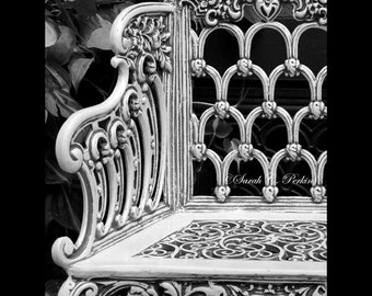 White Bench Photography-Architectural Image-Art Deco Wall Decor-Original Fine Art Photography-B&W Print-Vertical Unmatted/Unframed Wall Art