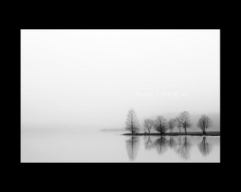 Black & White Photography-Lake Photography-Tree Photography-Serene Wall Art-Reflection-Landscape-Minimalist Art-Fine Art Print-Silhouette