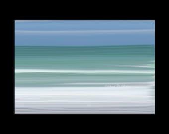 Calming Wall Decor Abstract Ocean Photograph Water & Sky Oil Painting Inspired Fine Art Photography Coastal Beach Decor Teal White Blue Art