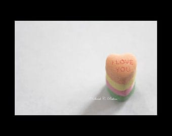 I Love You Candy Hearts Fine Art Photography Print White Yellow Green Pink Inspirational Nursery/Childs Room Decor Large Wall Art