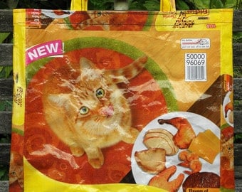 NEW LOW PRICE, Medium Upcycled Repurposed Grocery, Market, Lunch, Tote or Gift Bag for Cat Lovers