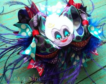 OTT Ursula Cutie Boutique Style Hair Bow Black Purple Red Turquoise Aqua Ostrich Puff