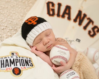 READY San Francisco Giants Newborn Hat, SF Giants baby beanie, Baseball baby Hat, San Francisco Giants Knit Newborn, Photography Prop