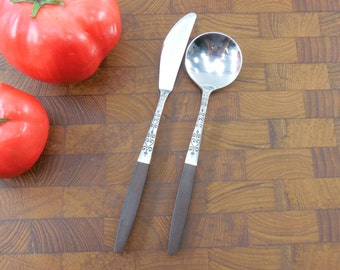 "Interpur Japan - INR2 Stainless Flatware  - Sugar Spoon & Master Butter Knife - Mid Century ""Canoe Muffin"" Brown"