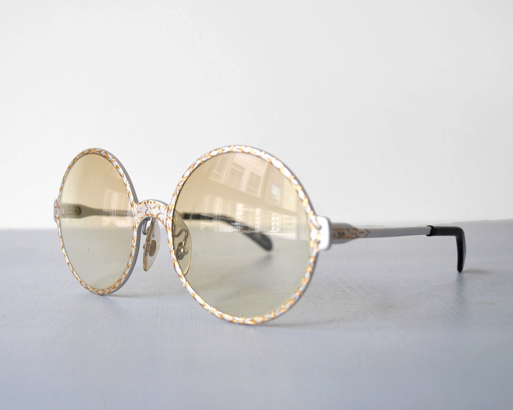 60s round glasses. white & gold frames. 1960s by heirloomen