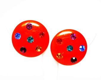 Pumpkin Orange Lucite Earrings - Clip on Rhinestone Studded Design - Multicolored Rhinestones - Retro Vintage