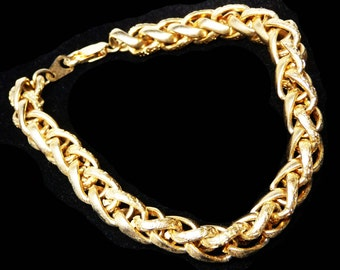 Gold Bracelet - Round Woven Chain - 14K Gold Plate - Braided Linky Chains - Embossed Heart Designed Chain Links - Retro Design
