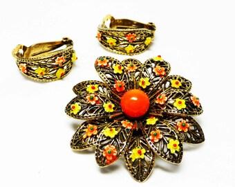 Vintage Art Signed Flower Brooch & Earring Set -Yellow and Orange Flower Power - Retro 1970's Designer Signed Jewelry