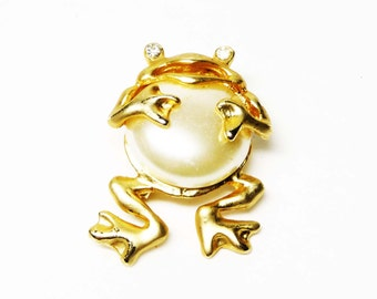 Mother of Pearl Frog Brooch - Modern Figural Reptile Pin - Rhinestone eyes in Goldtone Setting - 1996 collectible gift