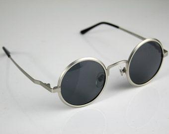 round sunglasses silver vintage Retro unisex Steampunk Goth John Lennon style round sunglasses Hippie polarized lens prescription NOS 1990s