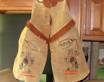 Vintage COWBOY CHAPS 1950's with Fringe