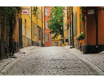 Fine Art Color Photography of a Quiet Cobblestone Lane in Gamla Stan Stockholm Sweden