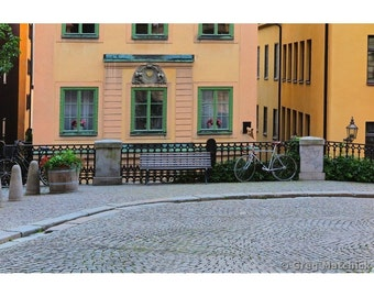 Fine Art Color Photography of a Quiet Cobblestone Lane in Old Stockholm Gamla Stan