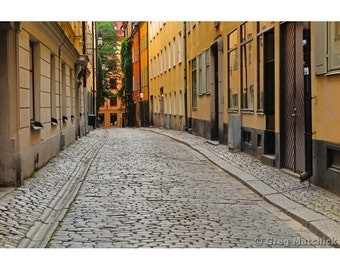 Fine Art Color Photography of a Cobblestone Lane in Old Stockholm
