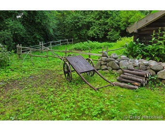 Fine Art Color Photography of Rustic Cart and Woodpile on a Farm in Sweden