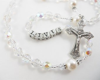 April Birthstone - Personalized Rosary - Baptism, First Communion, or Confirmation Gift