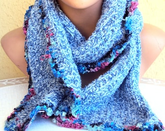 CLEARANCE SALE! Knit Scarf Cowl Neckwarmer Blue Soft Boucle Scarf Women Fashion Accessories Gift Ideas Free Shipment
