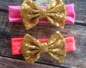 Sale Baby Kids Headband Bow Big Bow Sequin Bow Glitter Bow Cotton and Sequin Girls Hairbow Gold Silver Pink Black Hot Pink Stripe
