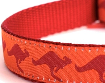 Kangaroo Dog Collar, Australia Theme Pet Collar, Ribbon Adjustable Collar, Orange